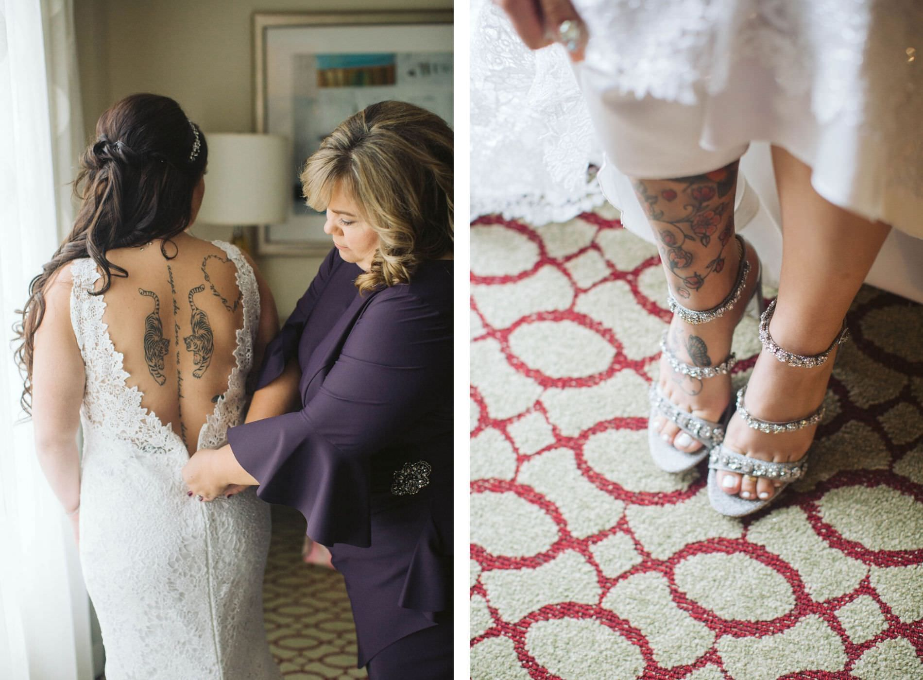 Tampa Bride Getting Ready Wedding Portrait in Low V Open Back Lace Wedding Dress Showing Off Tattoos and Silver Strappy Rhinestone Heel Wedding Shoes   Wedding Hair and Makeup Artist Michele Renee the Studio