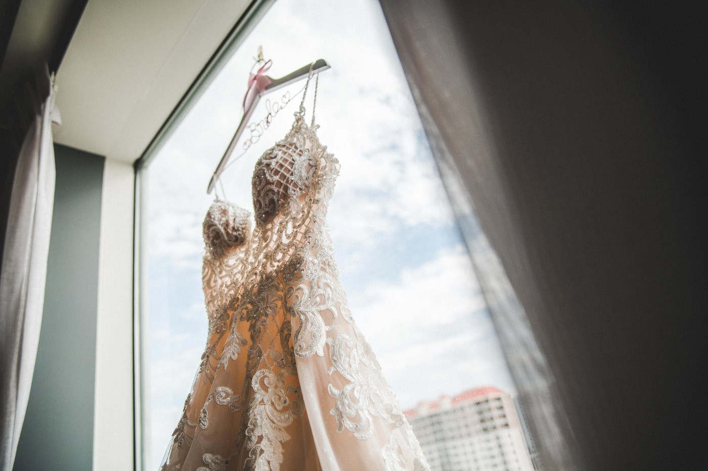 Champange Illusion Lace Wedding Gown Shot with Custom Bride Hanger