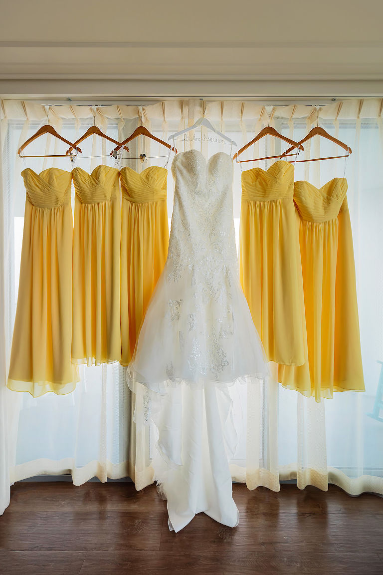 Lace Sleeveless and Sweetheart Wedding Dress, Yellow Matching Bridesmaids Dresses