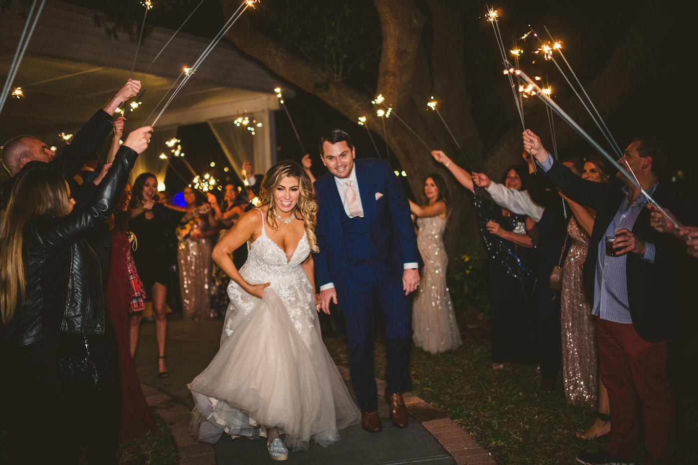 Bride and Groom Wedding Sparkler Exit