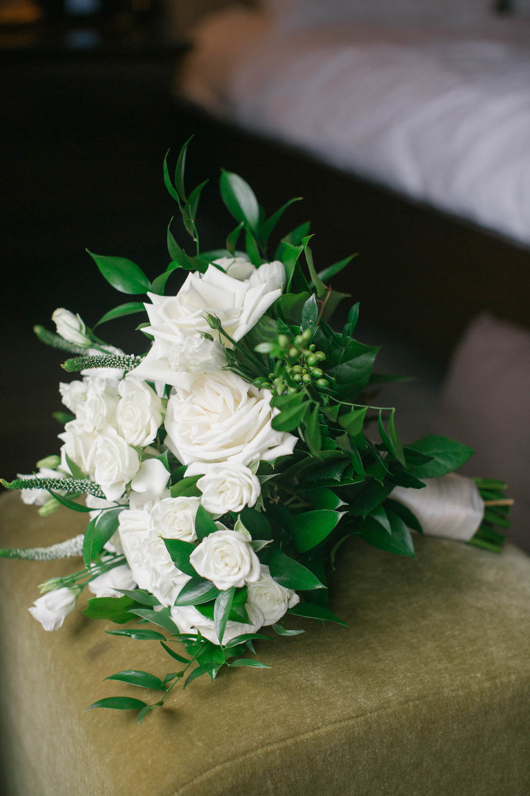 Classic Bridal Bouquet, Timeless Wedding Flowers with White Roses, Ivory Florals and Greenery | Tampa Bay Wedding Florist Bruce Wayne Florals | Wedding Planner Parties A'la Carte