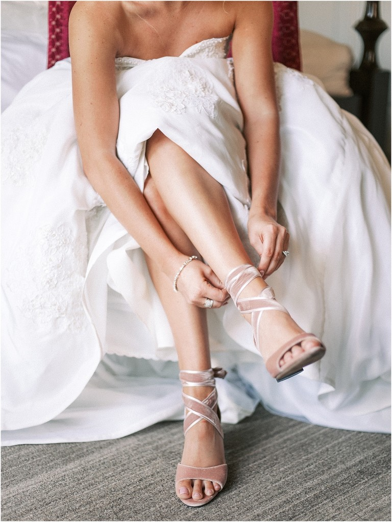 Bride Getting Dressed and Ready | Velvet Ribbon Lace Up Bridal Shoes