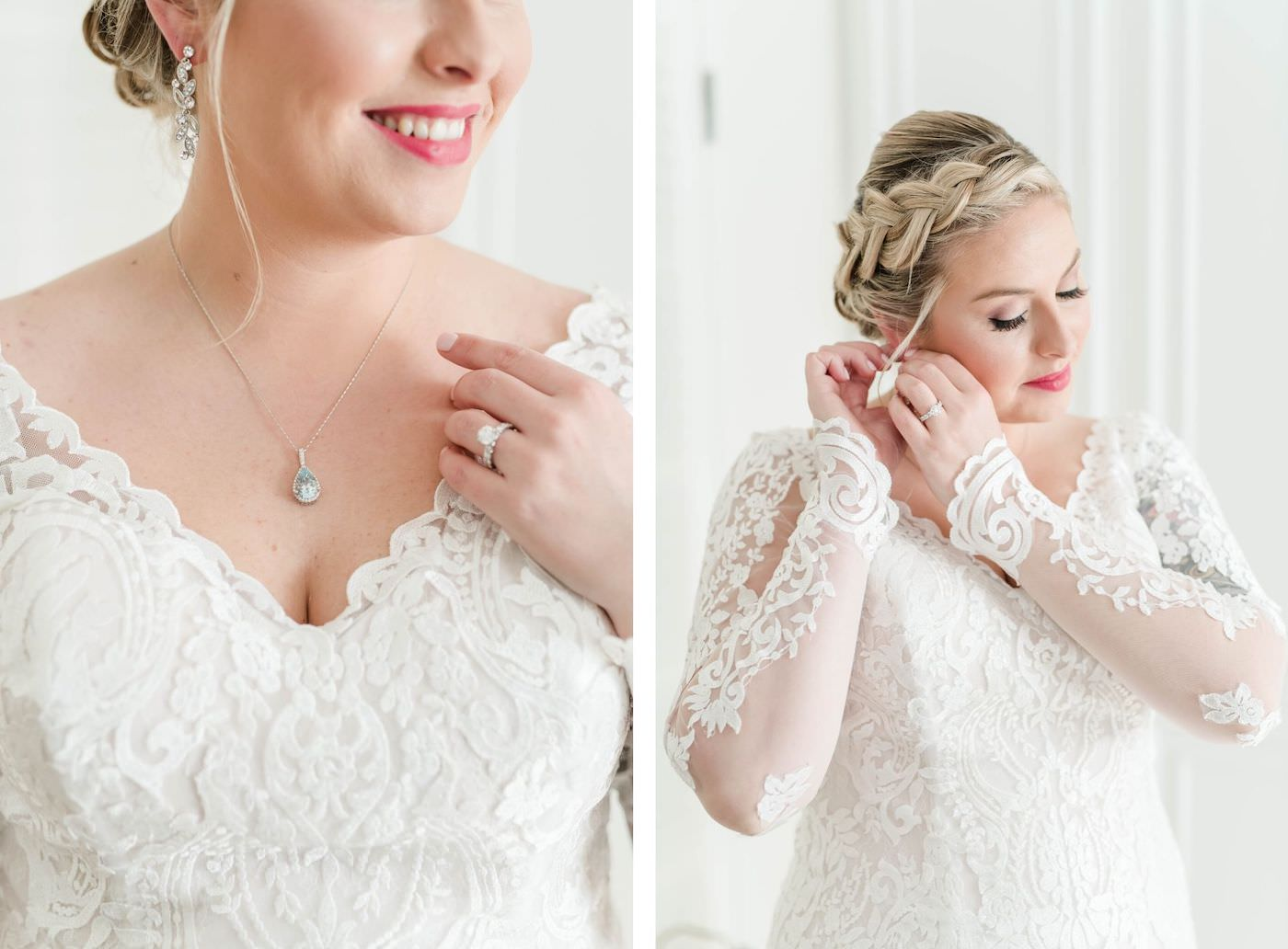 Ivory Lace Long Sleeve Bridal Gown With V Neck   Side Braid Bridal Hairstyle   Femme Akoi Beauty Studio