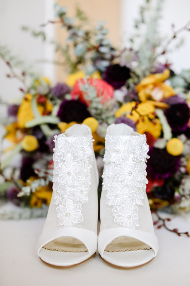 Vintage Inspired White Wedding Shoes, Sheer Lace and Illusion Open Toe Ankle Boots | Florida Wedding Photographer Lifelong Photography Studios