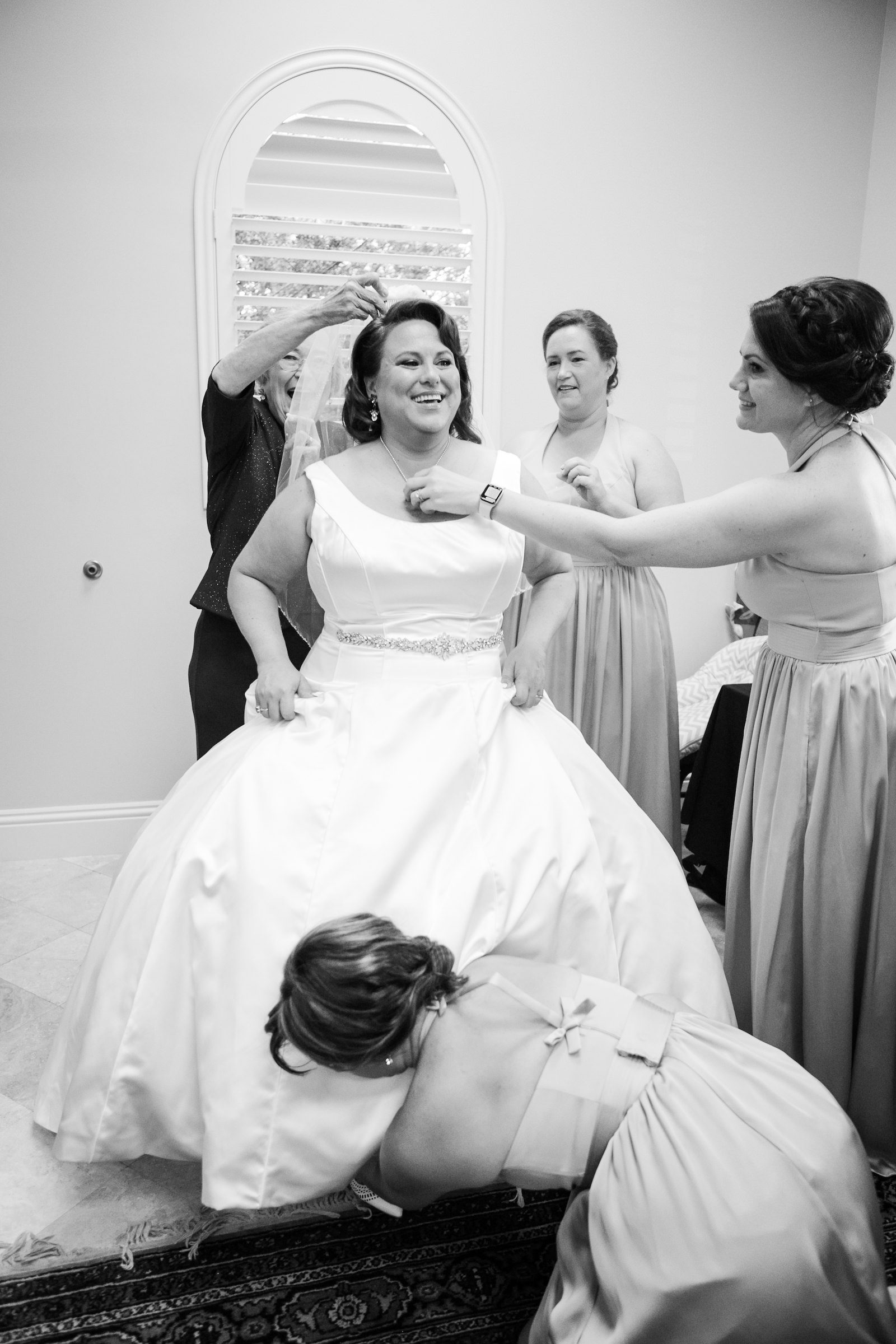 Tampa Bride Getting Ready Wedding Portrait with Bridesmaids | Wedding Photographer Carrie Wildes Photography | Wedding Hair and Makeup Michele Renee the Studio | Wedding Dress Truly Forever Bridal