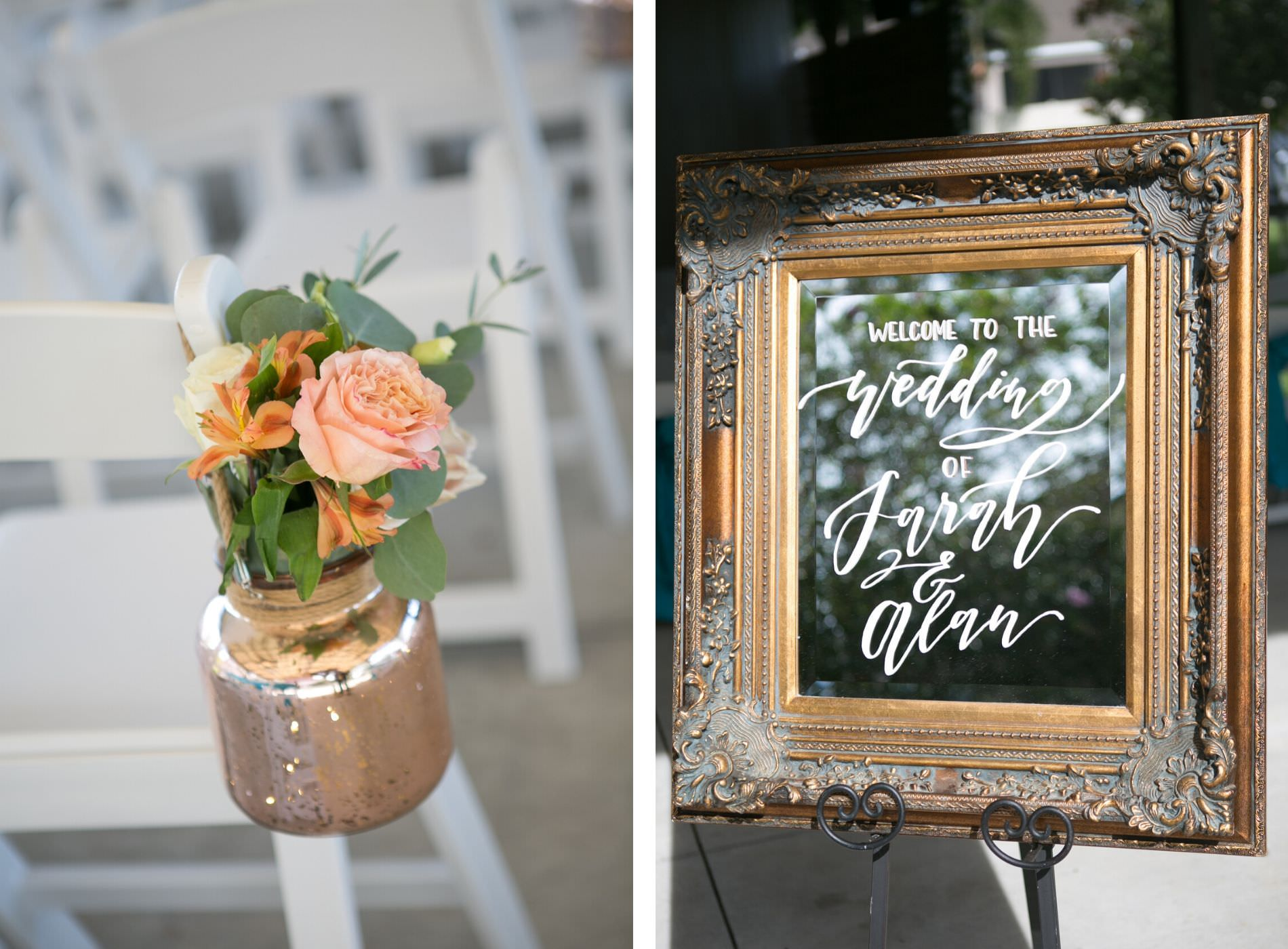 Tampa Wedding Ceremony Decor, Gold Mercury Jar with Pink Rose, Orange and Greenery Floral Arrangement, Antique Gold Fram Mirror Welcome Sign | Wedding Photographer Carrie Wildes Photography