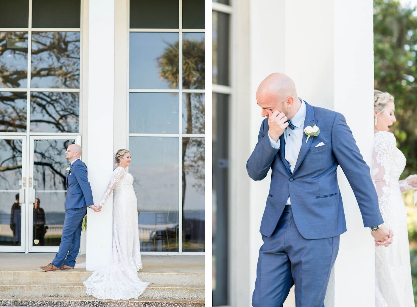Bride and Groom First Touch at Tampa Wedding Venue the Tampa Garden Club   Bride and Groom Reading Vows   Groom in Blue Suit
