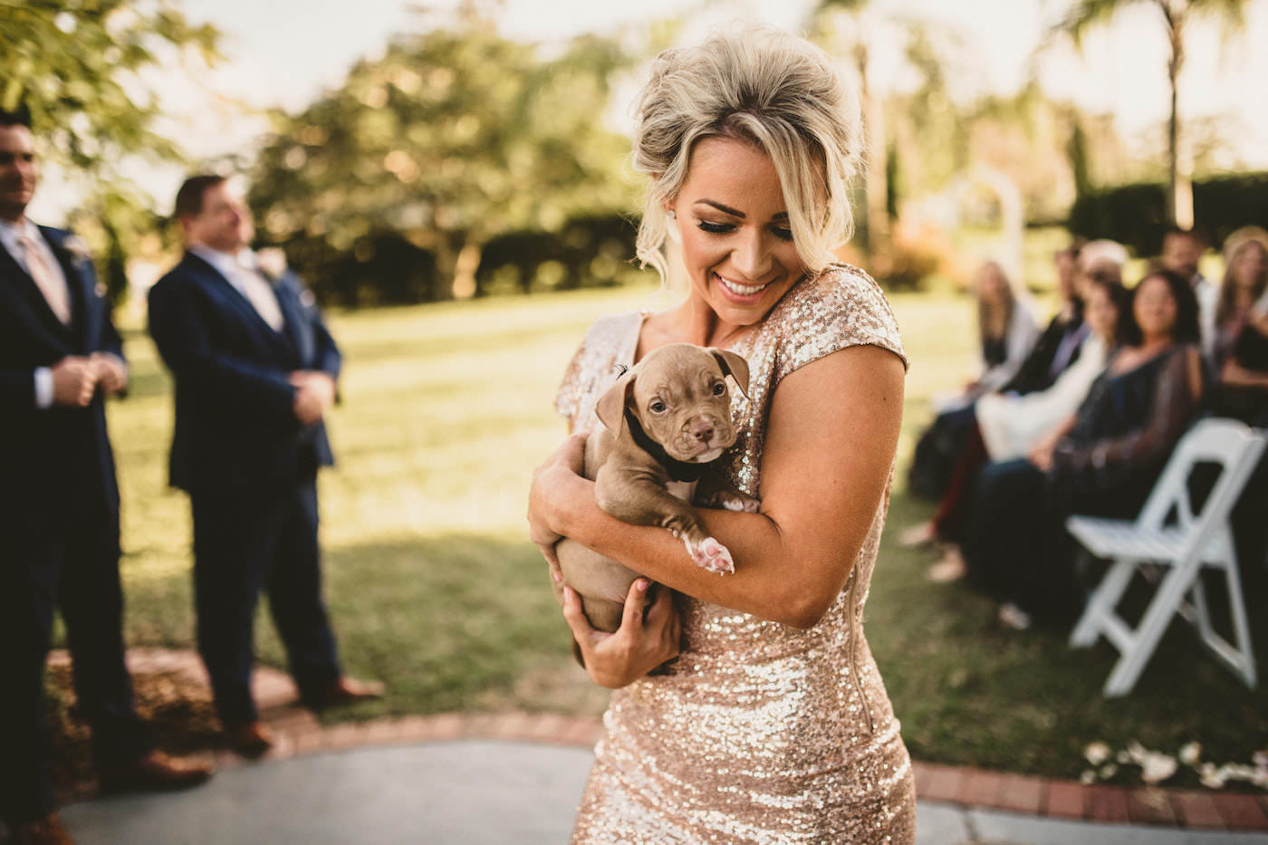 Rose Gold Champagne Metallic Sequin Bridesmaid Dress | Tampa Wedding with Adoptable Puppies | Puppy Instead of Bridesmaid Bouquet