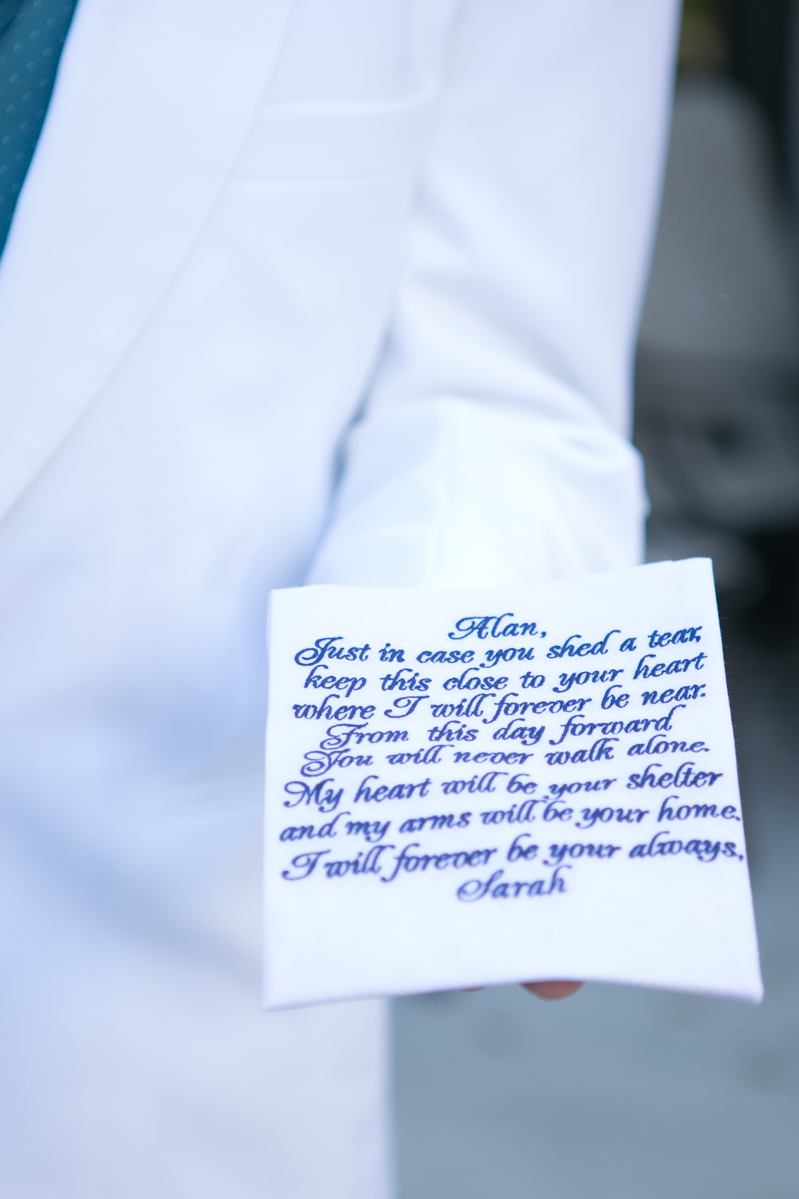 Personalized Wedding Handkerchief from Bride to Groom | Wedding Photographer Carrie Wildes Photography