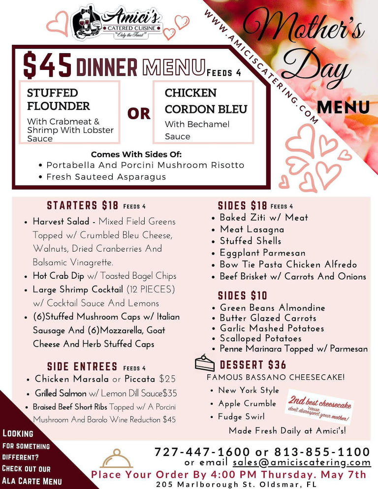 Amici's Catered Cuisine Mothers Day 2020 Menu