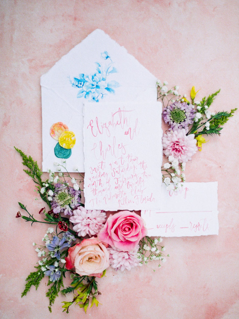 Tampa Styled Shoot European Pastel Spring Wedding Inspiration   Watercolor Wedding Invitation Suite Stationery Set with Wax Seals and Calligraphy