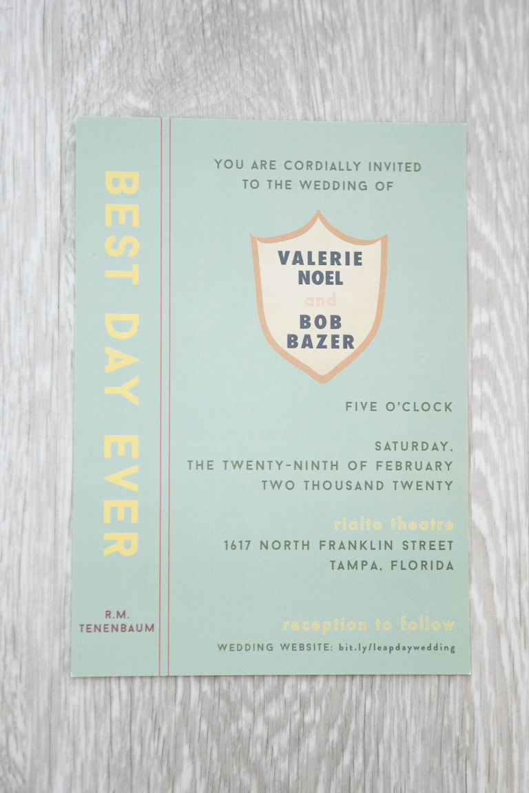 Wes Anderson Inspired Book Cover Wedding Invitation, Yellow, Gray and Mint Green | Tampa Bay Wedding Photographer Carrie Wildes Photography