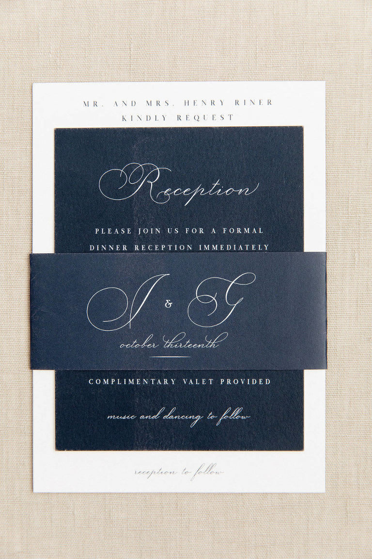 Classic Florida Wedding Invitation Suite, Midnight Blue Reception Card, Ivory Script, Custom Couple Monogram