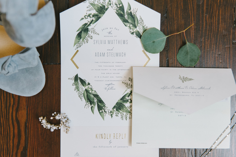 Elegant Modern White with Gold Geometric Accent and Greenery Leaves Wedding Invitation | Tampa Bay Wedding Photographer Kera Photography