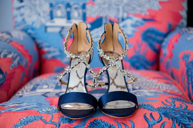 Satin Navy Blue Strappy Sandal with Rhinestone Bride Wedding Shoes