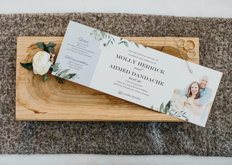 Ybor City Tampa Wedding Photo Invitation with Eucalyptus Greenery Motif