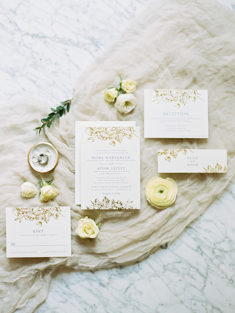Traditional Classic Wedding Stationery Suite Lay Flat | Gold Foil Wedding Invitation Set with Floral Motif