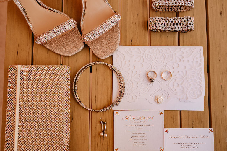 Wedding Invitation Set with Die Cut Lace Design | Wedding Flat Lay Stationery Set with Gold Rhinestone Clutch and Gold Rhinestone Wedding Shoes