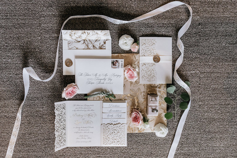 Tampa Wedding Invitation Stationery Suite with Laser Cut Lace Pocket and Calligraphy and Gold Wax Seal