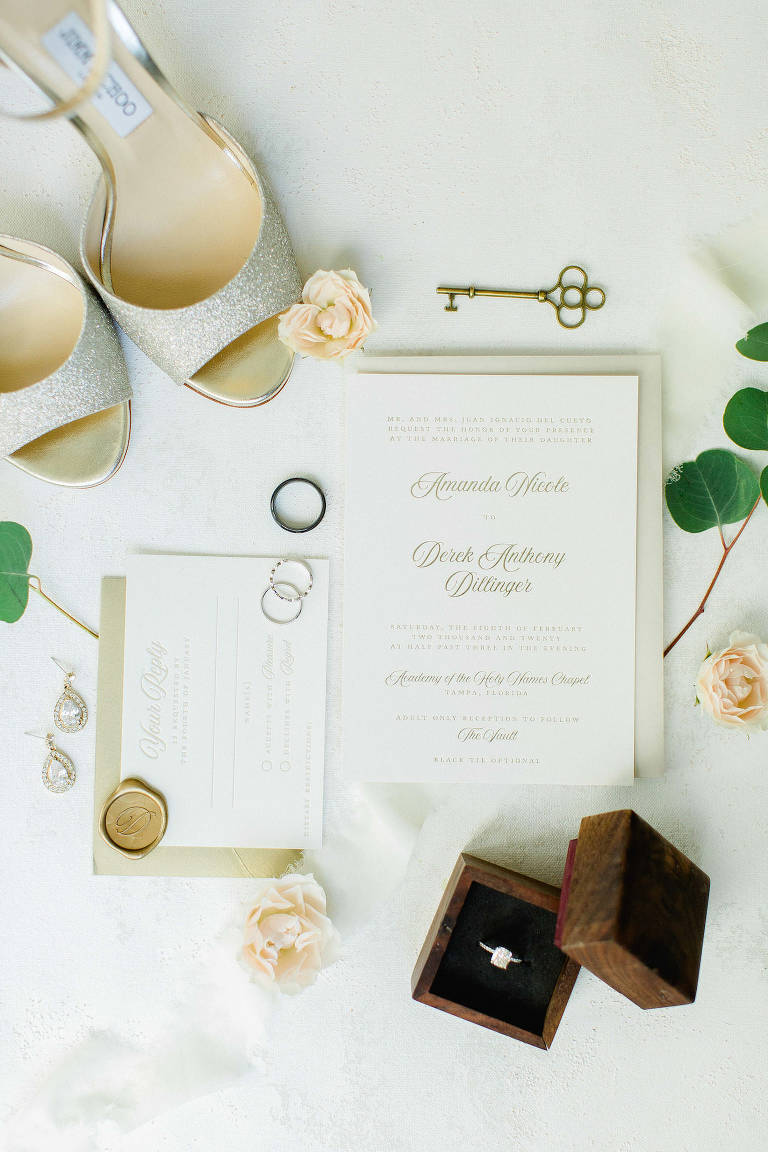 Timeless Florida Wedding Invitation Suite and Bridal Details, Wooden Ring Box, Jimmy Choo Gold Glitter Shoes, Ivory, Champagne and White Stationary | Tampa Bay Wedding Planner Breezin' Weddings
