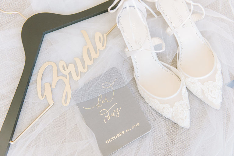 Bride Wedding Dress Hanger with Sheer Lace Pointy Toe Bride High Heel Shoes and Custom Vow Journal