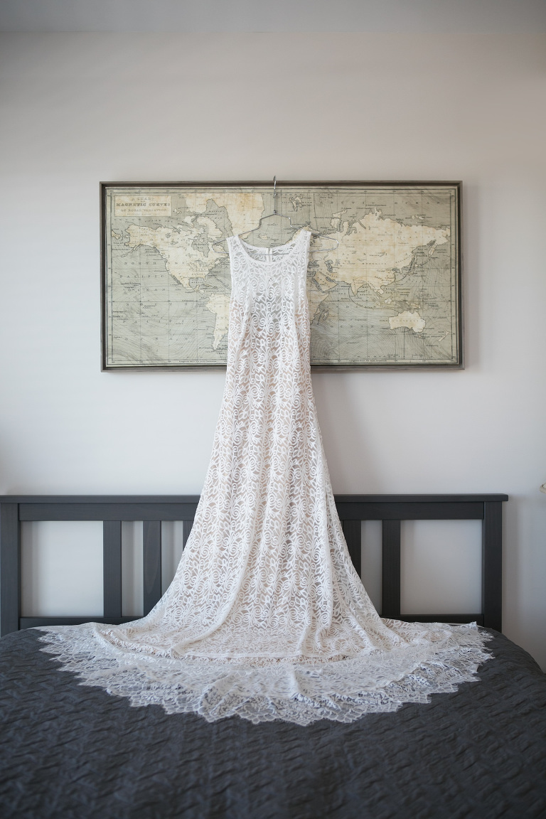 Ivory Delicate Lace Crew Neck Wedding Dress | Wedding Photographer Carrie Wildes Photography