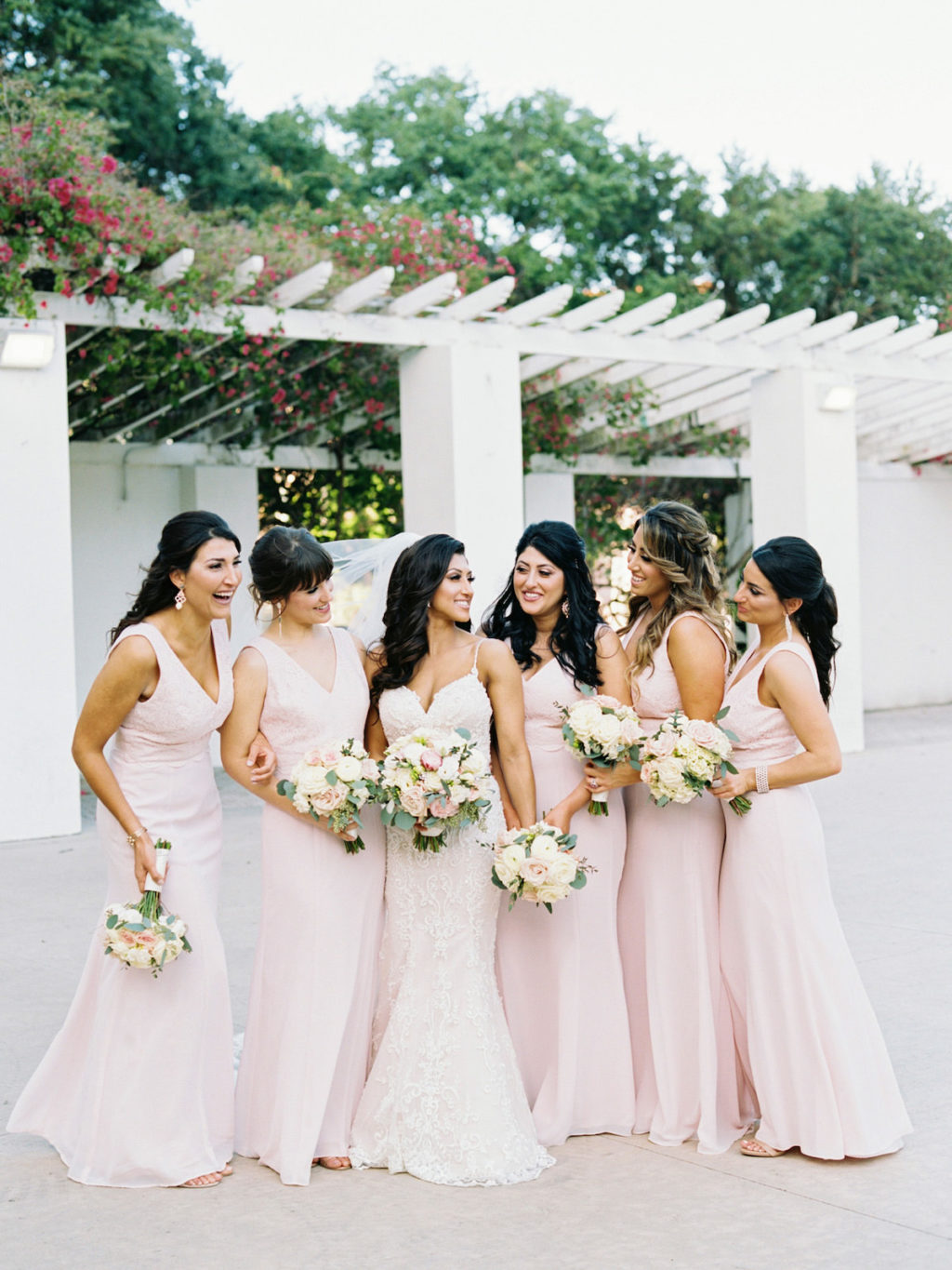 Bride and Bridesmaids Portrait Outdoor Vinoy Park St. Pete | Blush Pink Bridesmaids Dresses with Blush and White Rose Bouquets