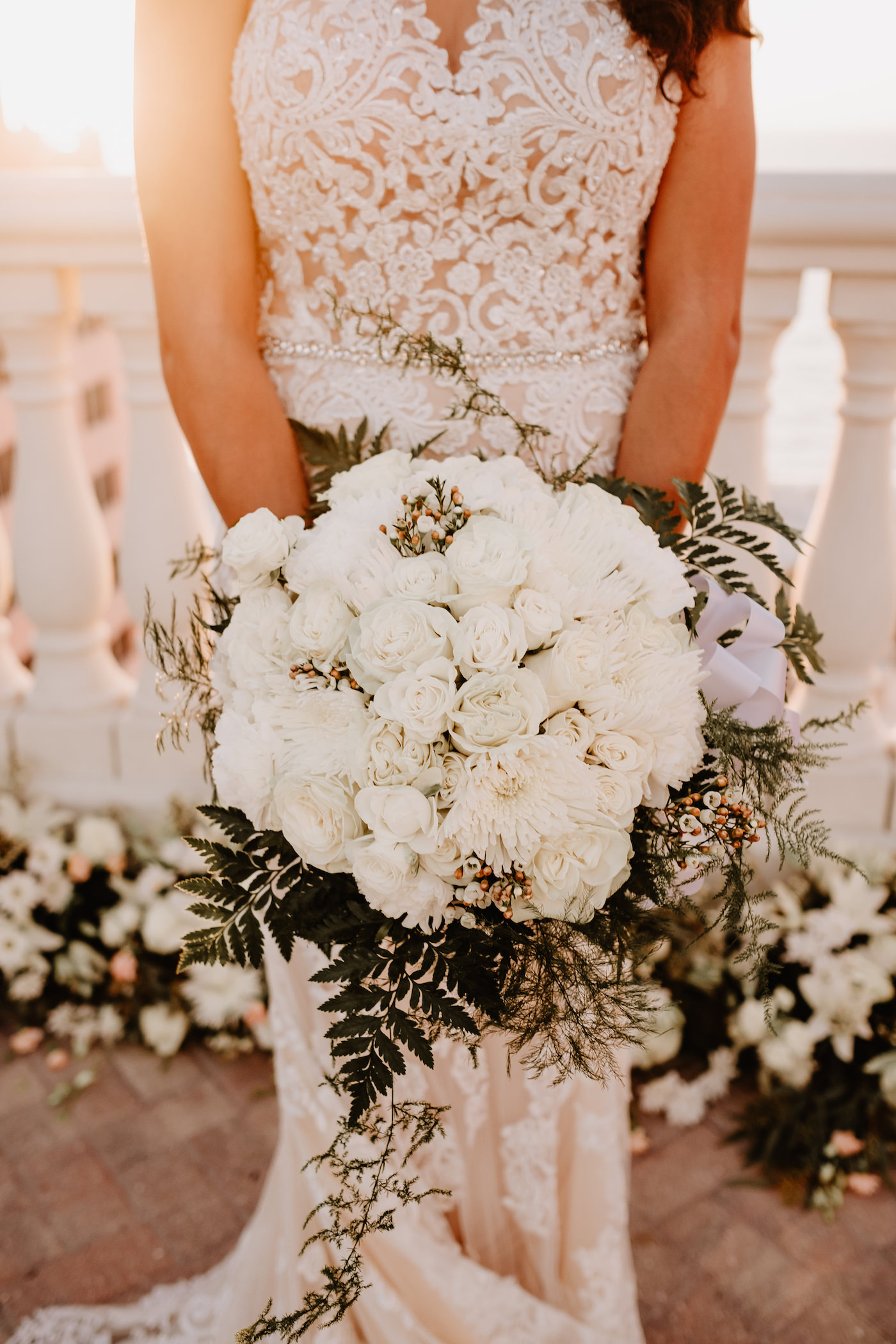 Round Monochromatic Bride Wedding Bouquet White Roses Ivory Chrysanthemums with Greenery Ferns