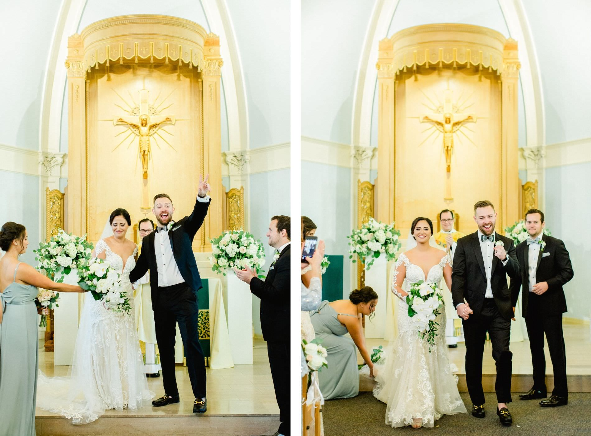 Florida Bride and Groom Just Married at Wedding Recessional at All Saints Catholic School in South Tampa, Ceremony Altar Decorated with White, Ivory, and Blush Pink Florals, Bride Wearing Illusion Lace Sleeve Fit and Flare Dress | Downtown Tampa Wedding Planner Breezin' Weddings