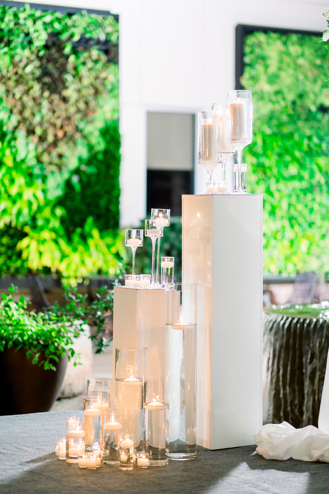 Elegant Classic Wedding Ceremony Decor, Tall White Pedestals with Floating Candle Vases | Wedding Photographer Shauna and Jordon Photography | Tampa Wedding Planner UNIQUE Weddings + Events
