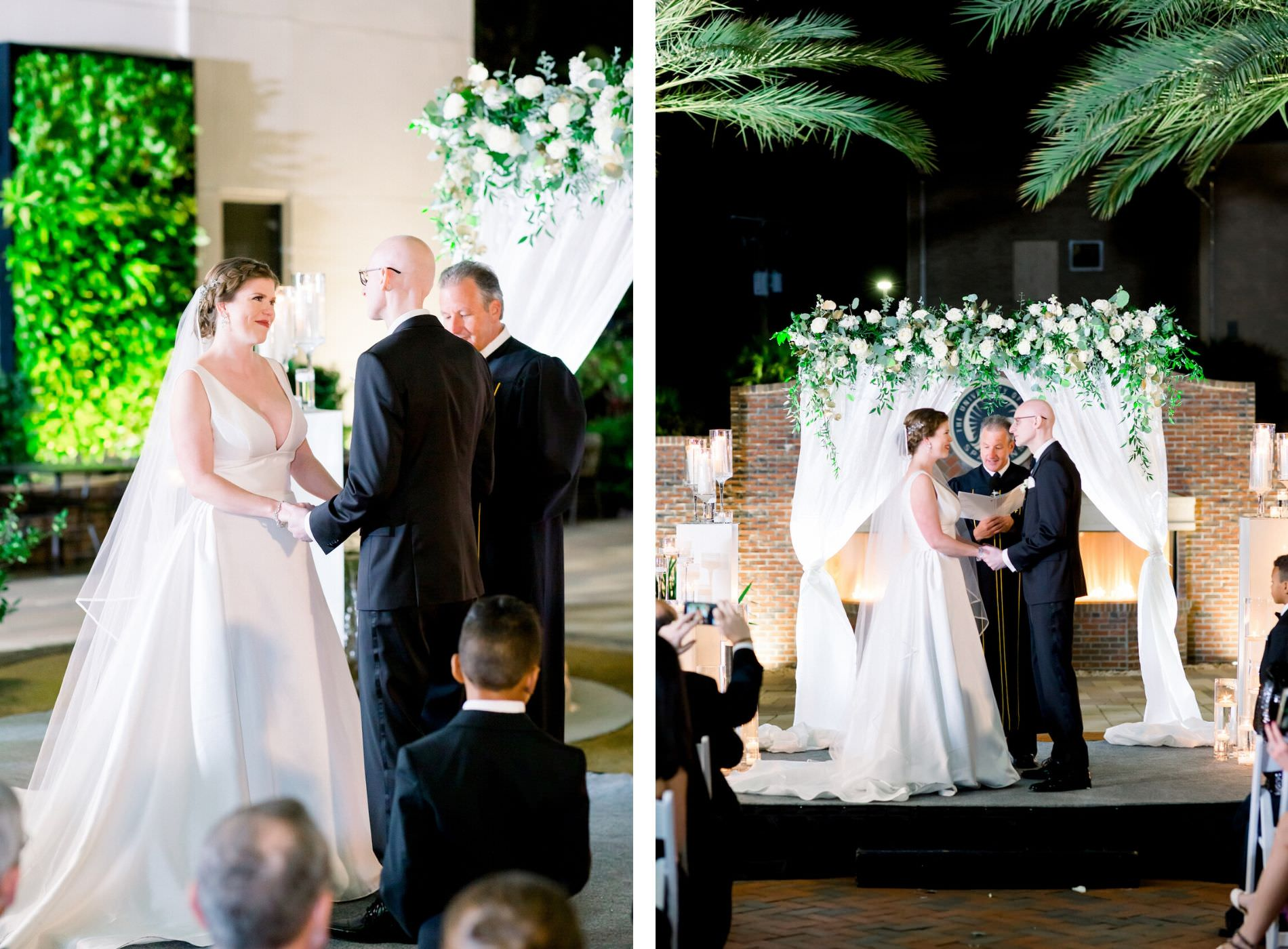 New Year's Eve Elegant Classic Nighttime Wedding Ceremony, Bride and Groom Exchanging Vows, White Draped Arch with Greenery and White Floral Arrangement, Red Brick Fireplace Backdrop | Wedding Photographer Shauna and Jordon Photography | Tampa Wedding Planner UNIQUE Weddings + Events