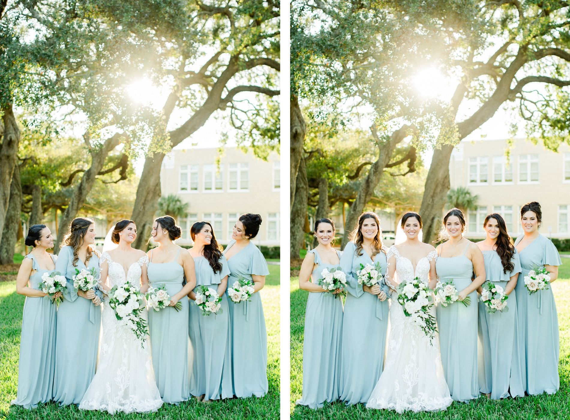 Tampa Bay Bride and Bridesmaids, Wearing Long Mix and Match Sage Show Me Your Mumu Bridesmaid Dresses, Holding Elegant White, Blush Pink and Ivory Floral Bouquets, In Front of South Tampa's All Saints Academy | Tampa Bay Wedding Planner Breezin' Weddings