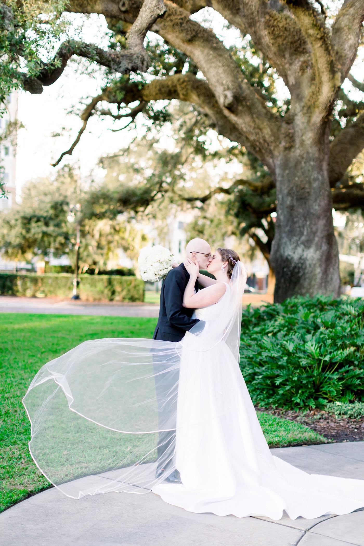Romantic Classic Bride and Groom Veil Blowing Portrait | Wedding Photographer Shauna and Jordon Photography | Tampa Wedding Planner UNIQUE Weddings + Events
