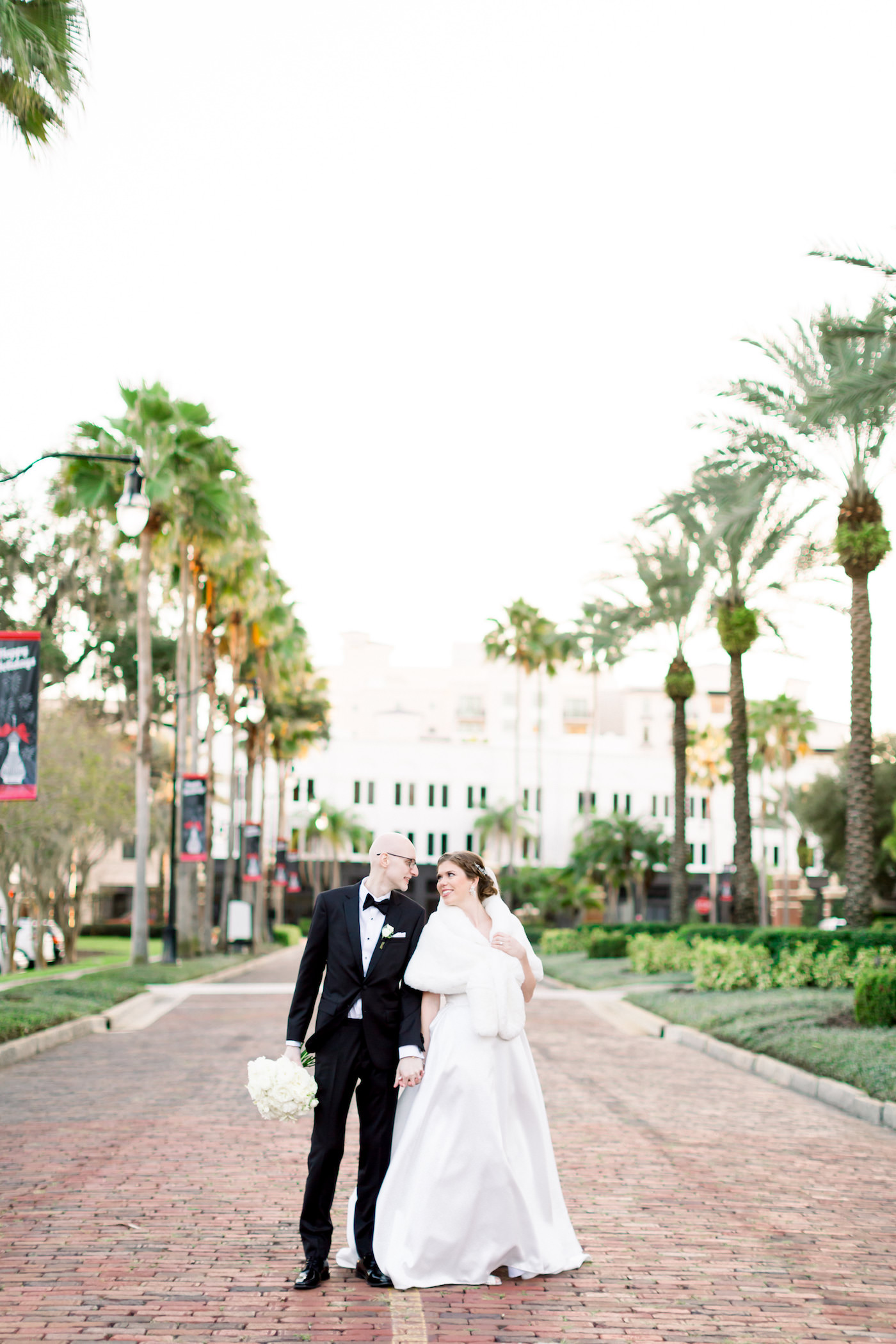 Classic Bride and Groom on the Streets at The University of Tampa | Wedding Photographer Shauna and Jordon Photography