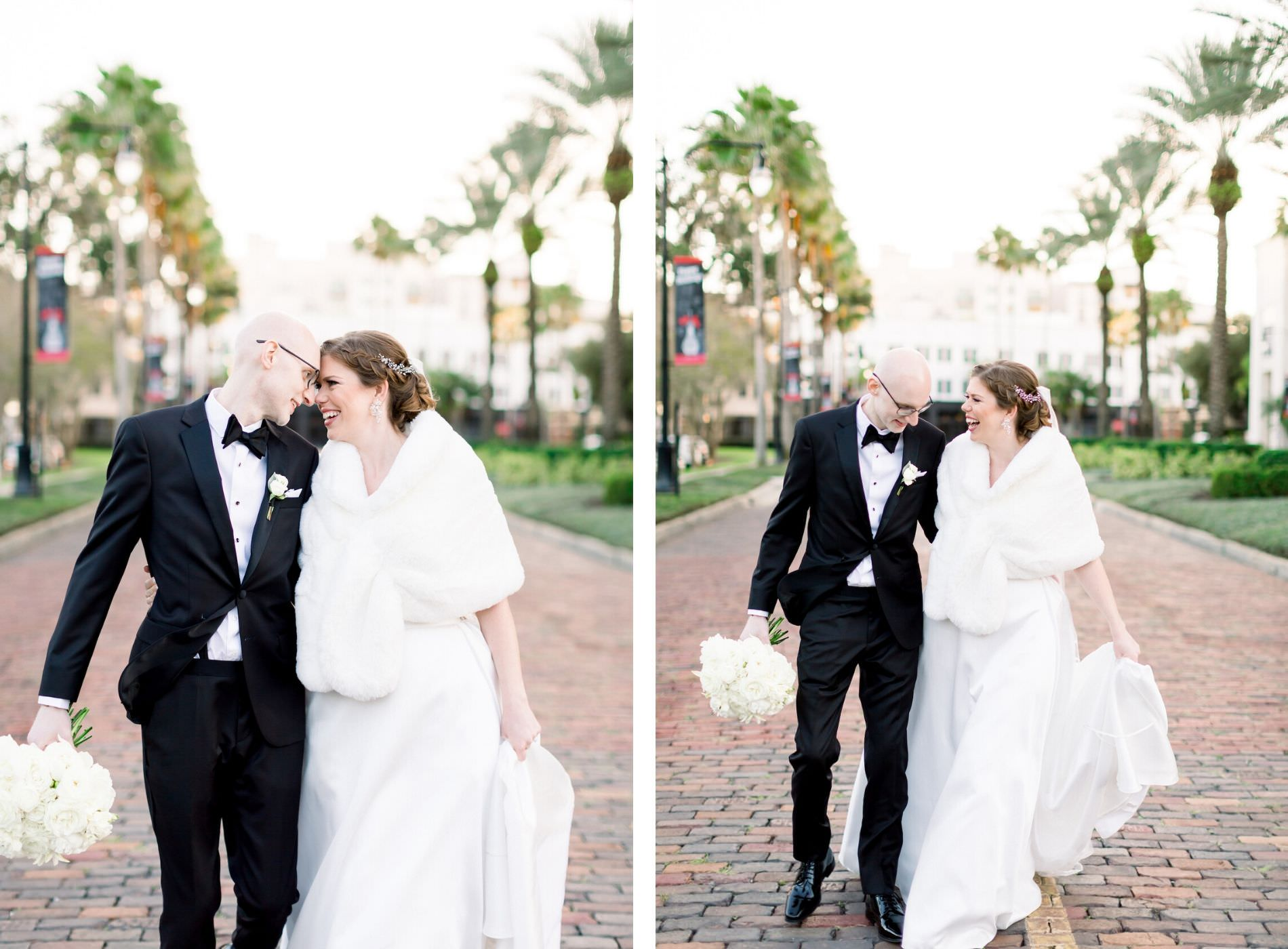 Classic Bride with White Fur Shawl and Groom on the Streets at The University of Tampa | Wedding Photographer Shauna and Jordon Photography | Wedding Hair and Makeup Femme Akoi Beauty Studio