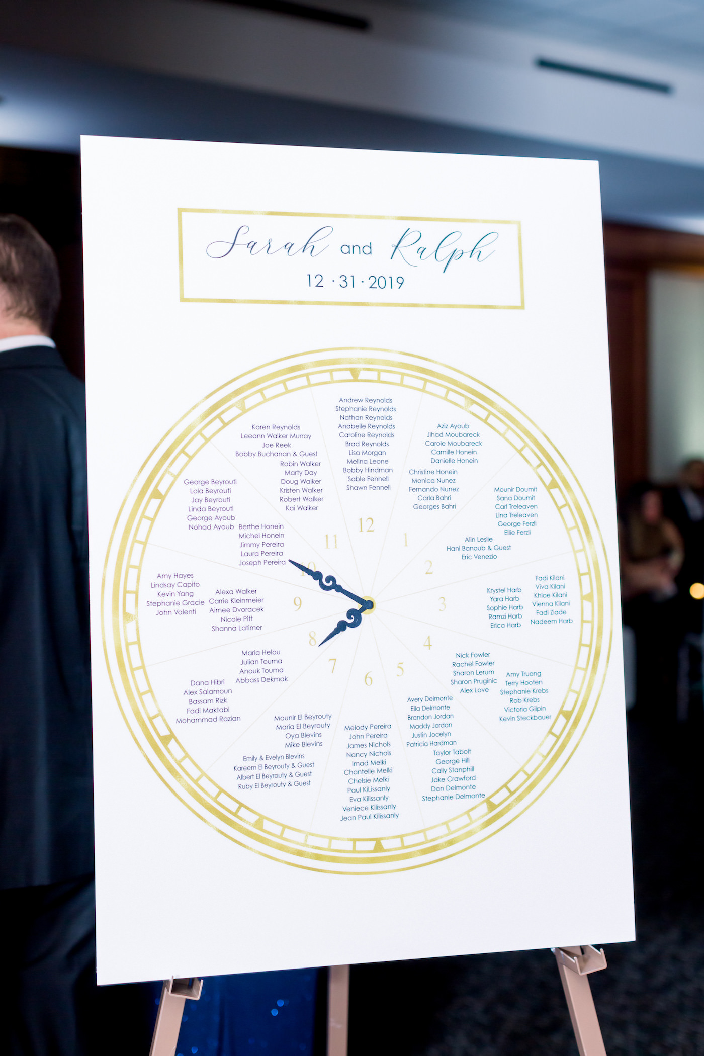 New Year's Eve Wedding Reception Decor, Gold and Navy Blue Clock Seating Chart | Wedding Photographer Shauna and Jordon Photography | Tampa Wedding Planner UNIQUE Weddings + Events