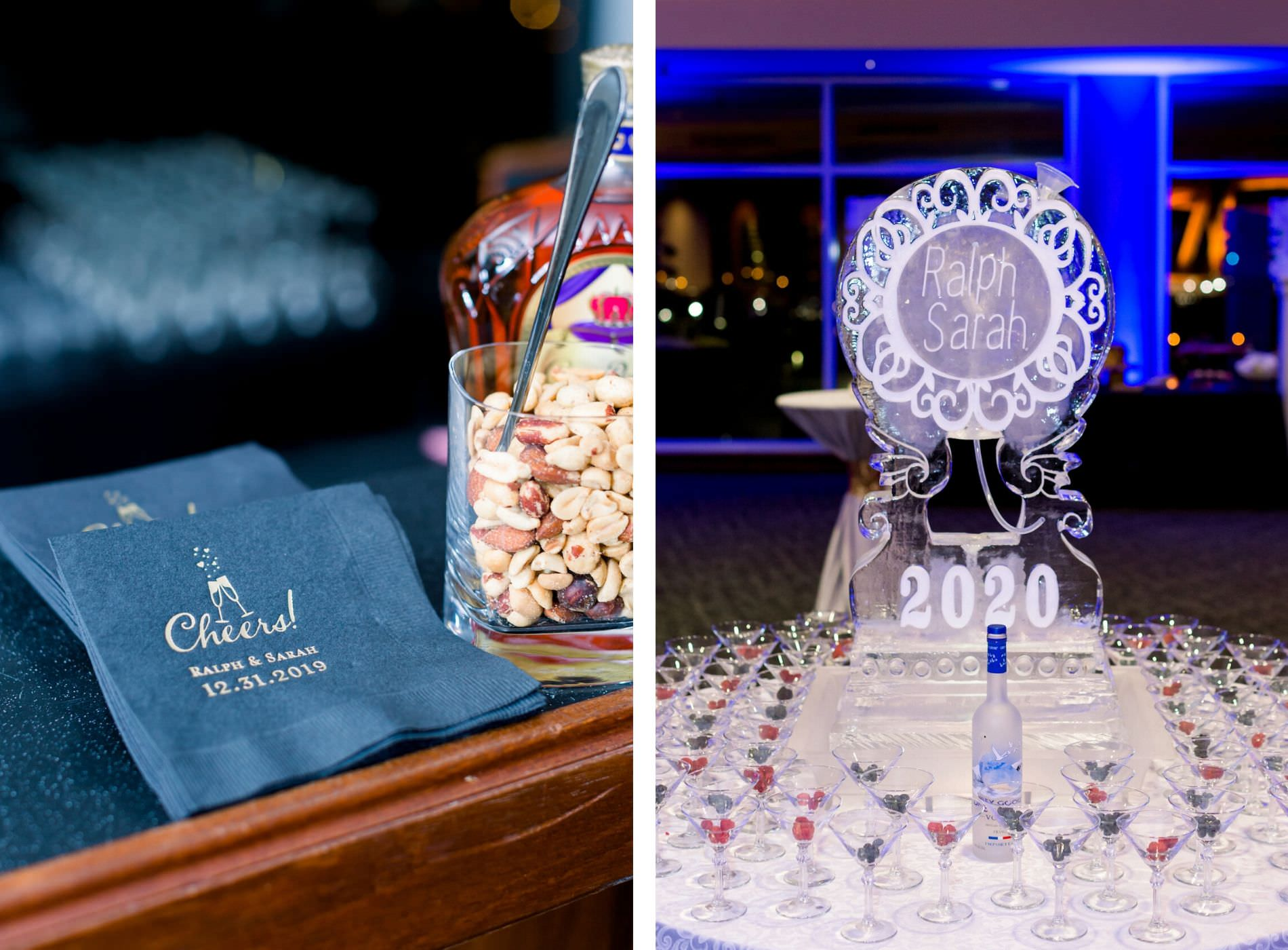 New Year's Eve Wedding Reception Decor, Custom Navy Blue and Gold Font Napkins, Personalized Ice Sculptures and Vodka Martini Glass Table | Wedding Photographer Shauna and Jordon Photography | Tampa Bay Wedding Planner UNIQUE Weddings + Events | Wedding Rentals A Chair Affair