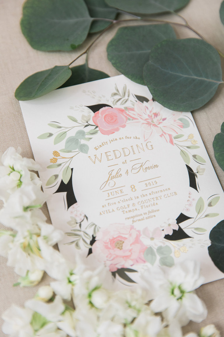 Blush Pink Floral Halo Wedding Invitation with Gold Embossed Stationery