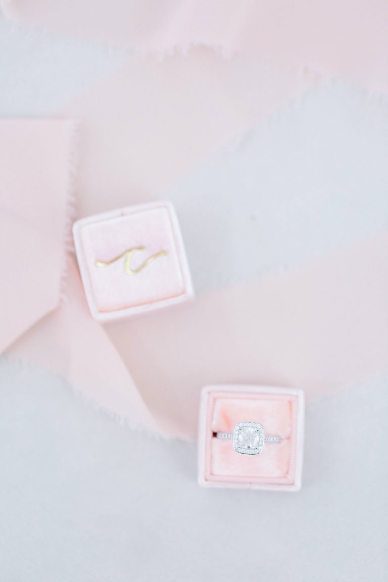 Wedding Ring Photo Shot | Pink Velvet Ring Box with Cushion Cut Engagement Ring with Halo and Channel Set Diamonds