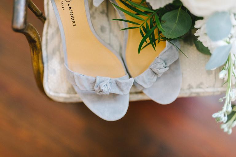 Open Toe Dusty Blue Velvet Sandal with Bow Detail Bridal Wedding Shoes | Tampa Bay Wedding Photographer Kera Photography
