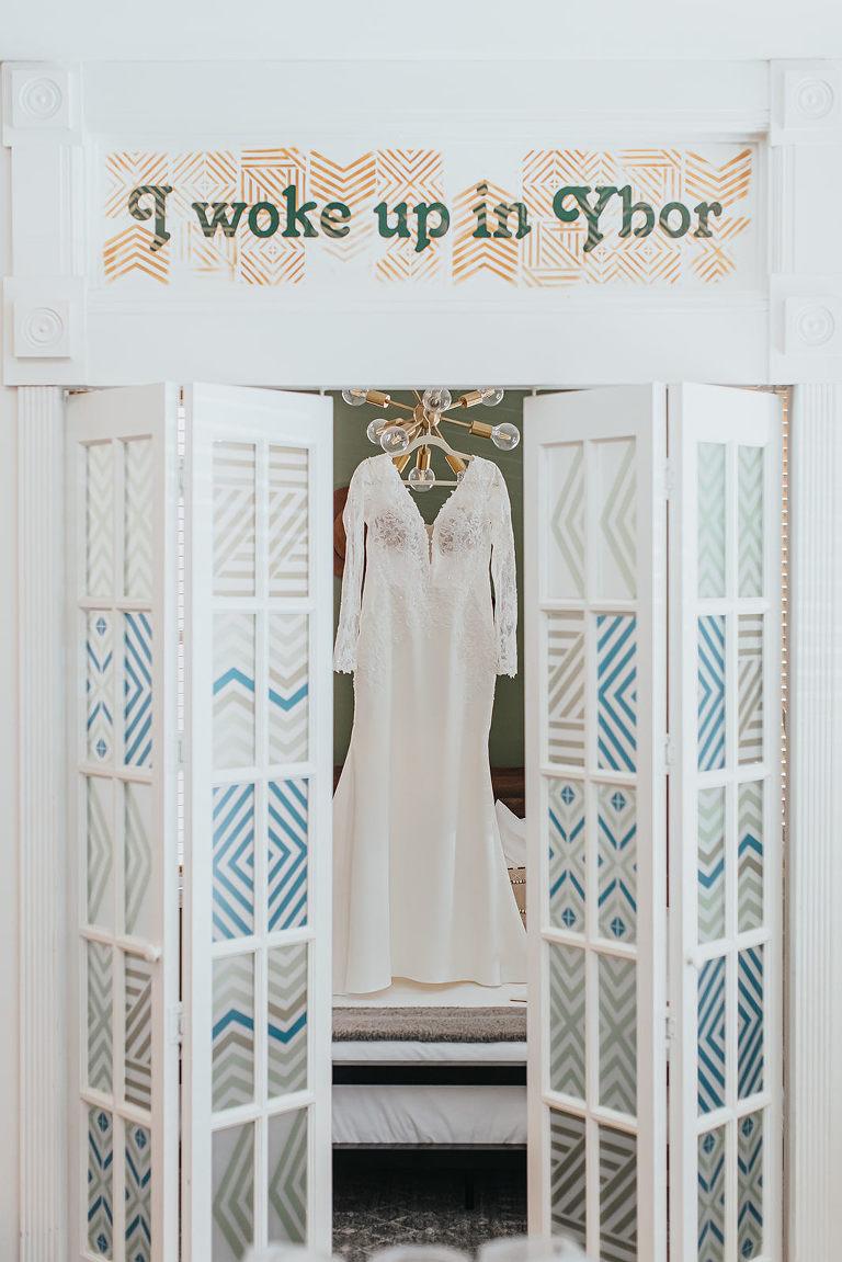 Ybor City Tampa Wedding Dress Hanger Shot