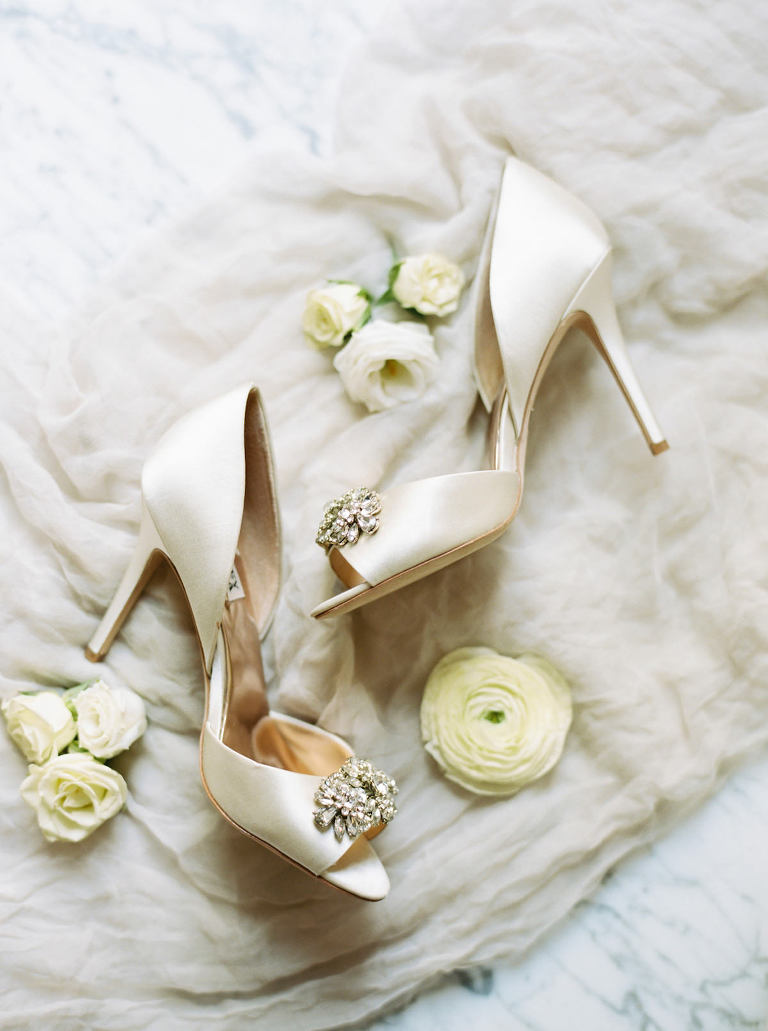 Bridal Shoes Badgley Mischka Designer Satin Wedding Heels with Rhinestone Peep Toe