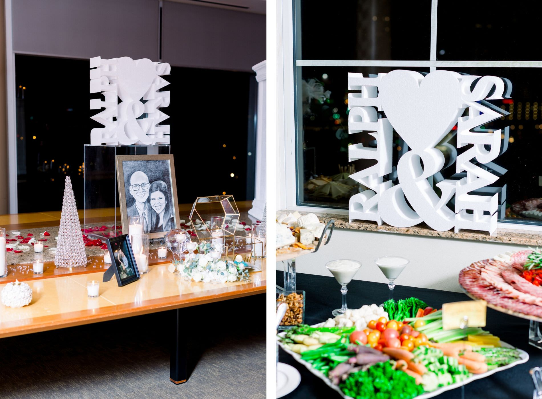 New Year's Eve Wedding Reception Decor, Custom Bride and Groom Laser Cut White Name Sign and Vegetable Platter | Wedding Photographer Shauna and Jordon Photography | Tampa Bay Wedding Planner UNIQUE Weddings + Events | Wedding Rentals A Chair Affair