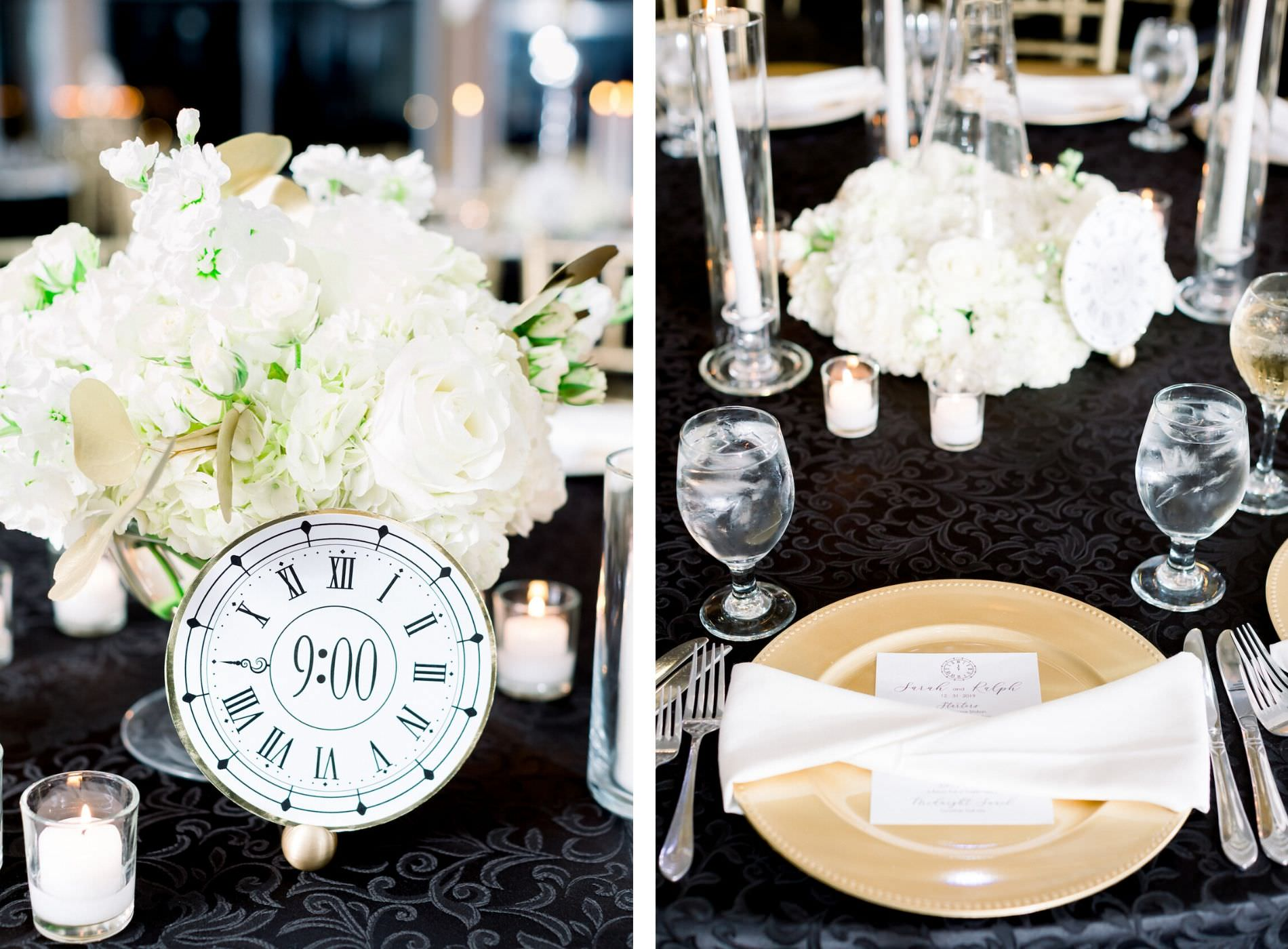 Formal New Year's Eve Wedding Reception Decor, Black and White Clock, White Roses and Hydrangeas Floral Centerpiece, Gold Charger with White Linen, Black Tablecloth | Wedding Photographer Shauna and Jordon Photography | Tampa Bay Wedding Planner UNIQUE Weddings + Events | Wedding Rentals A Chair Affair