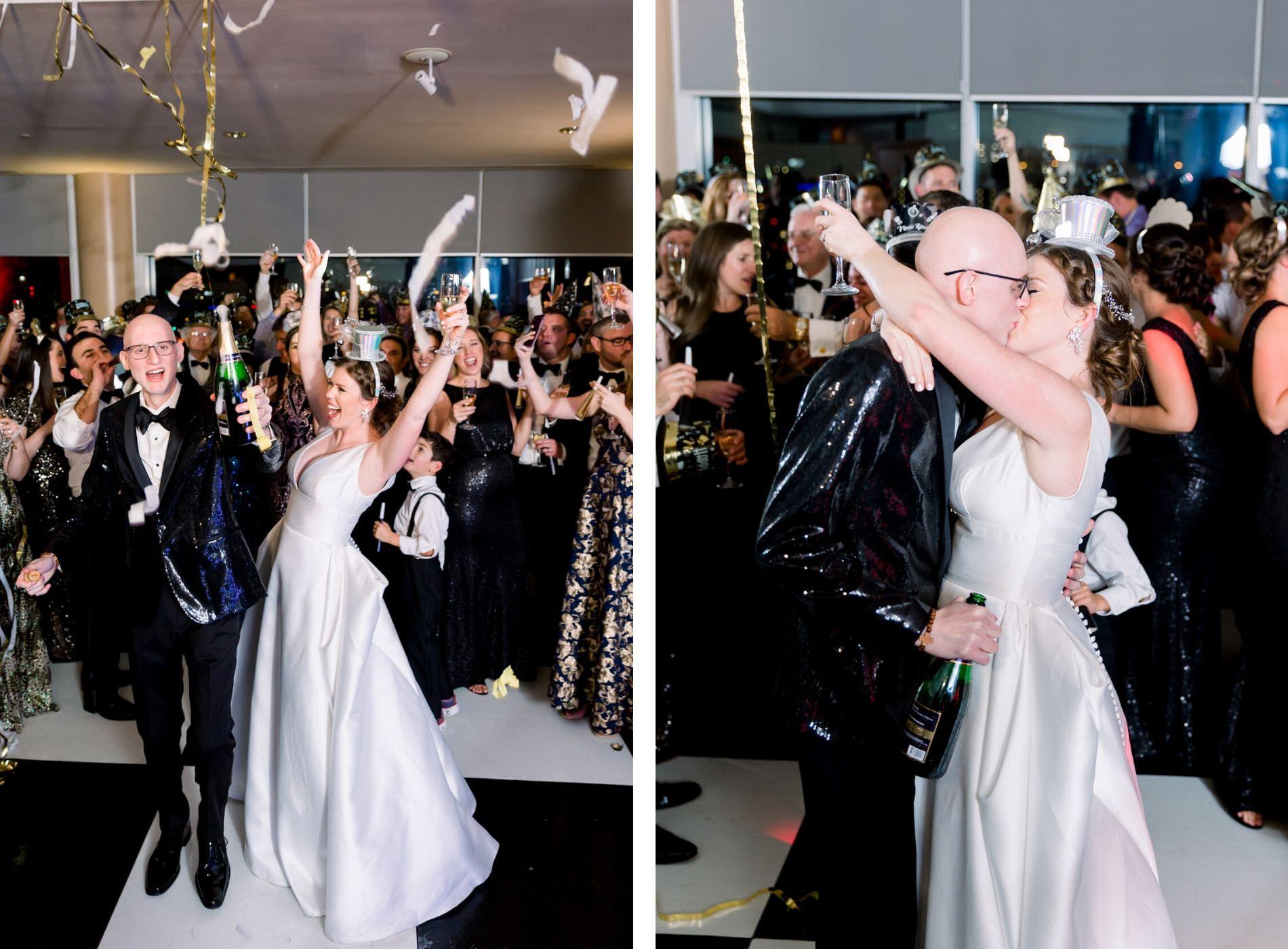 Fun New Year's Eve Wedding Midnight Kiss Portrait, Confetti and Champagne | Wedding Photographer Shauna and Jordon Photography | Tampa Bay Wedding Planner UNIQUE Weddings + Events | Wedding DJ Grant Hemond & Associates