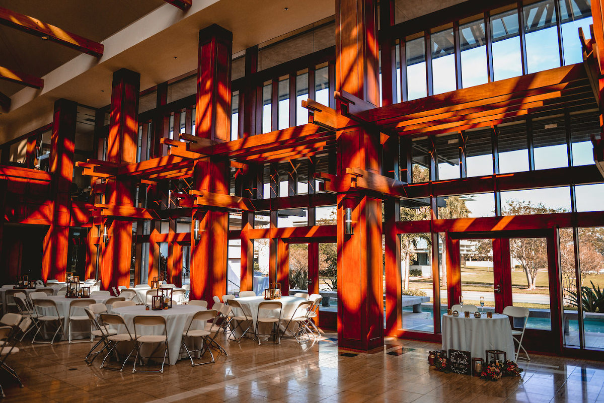 St. Pete Wedding Venue The Poynter Institute | Indoor Lobby Reception Space with Wood Beams Architecture