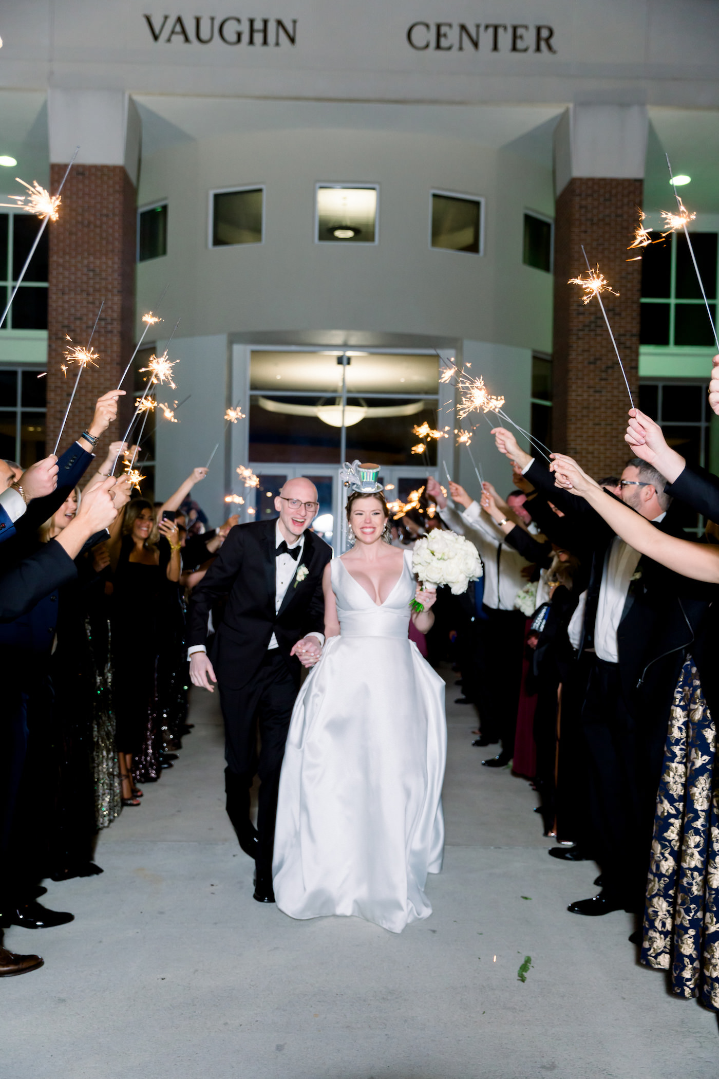Formal New Year's Eve Bride and Groom Exiting Reception | Wedding Photographer Shauna and Jordon Photography | Tampa Bay Wedding Planner UNIQUE Weddings + Events