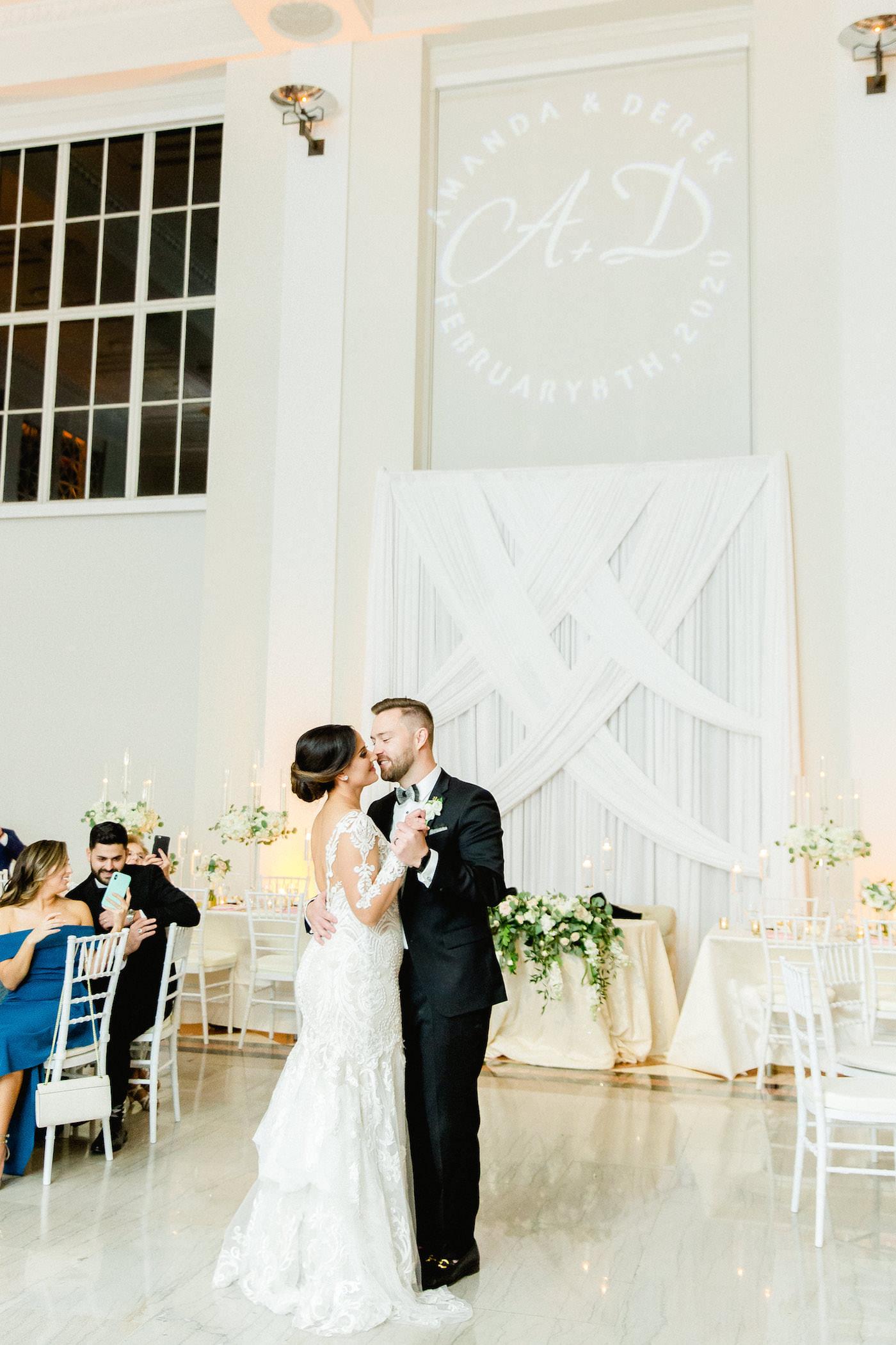 Timeless Elegant Tampa Bay Bride and Groom First Dance During Wedding Reception Portrait | Florida Wedding Venue The Vault | Tampa Wedding Planner Breezin' Weddings
