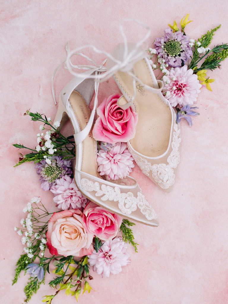 Tampa Styled Shoot European Pastel Spring Wedding Inspiration | Illusion Lace Pointy Toe Bridal Shoes Shot with Colorful Bright Flowers