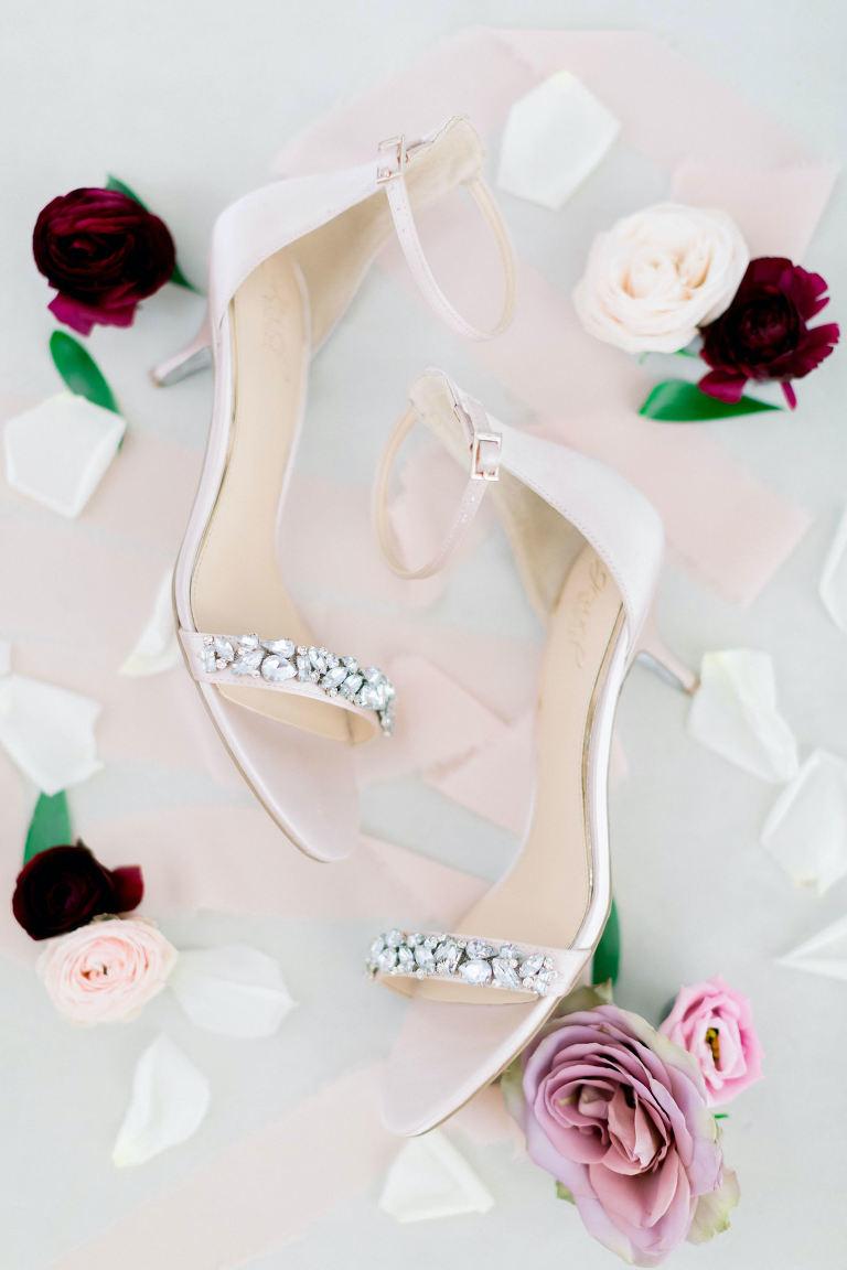 Bridal Shoes Low Heel Rhinestone Strap Blush Pink Satin Wedding Heels